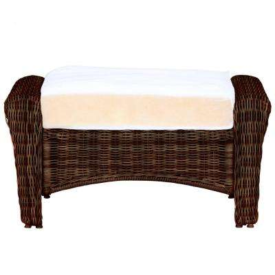 Park Meadows Brown Custom Wicker Outdoor Ottoman With Cushions Included Choose Your Own Color
