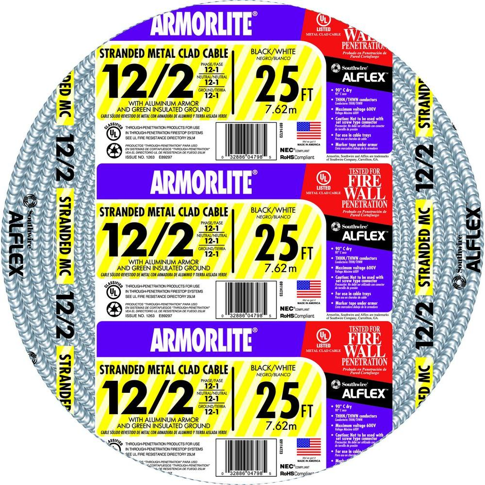 Southwire 12/2 x 25 ft. Stranded CU MC (Metal Clad) Armorlite Cable