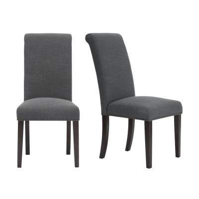Hanford Chocolate Wood Upholstered Dining Chair with Charcoal Seat (Set of 2) (18.90 in. W x 40.55 in. H)