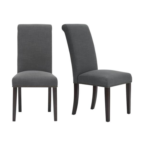 Home Decorators Collection Hanford Chocolate Wood Upholstered Dining Chair With Charcoal Seat Set Of 2 18 90 In W X 40 55 In H 319 D Charcoal The Home Depot