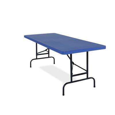 30 in. x 72 in. Blue Adjustable Height Rectangular Folding Table