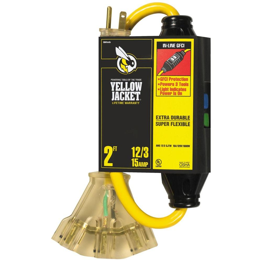 Yellow Jacket 2 ft. 12/3 SJTW In-Line GFCI and 3 Outlet Power Block