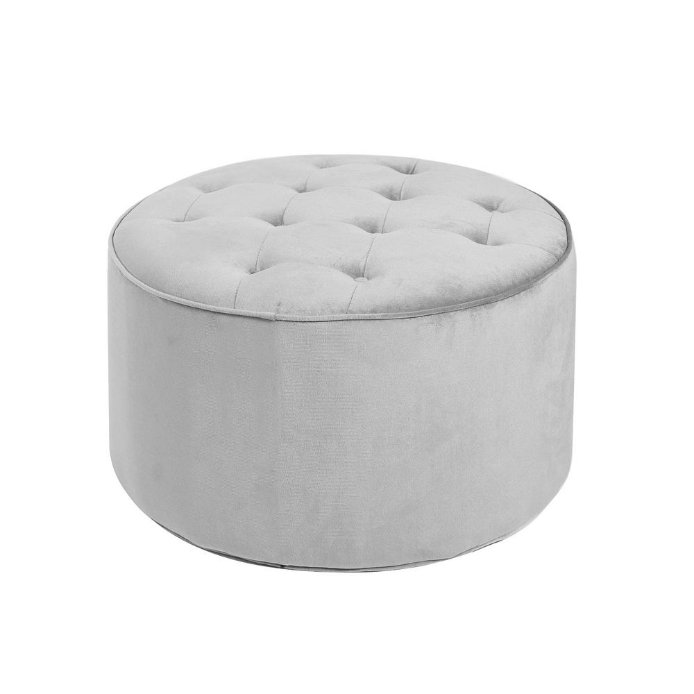Superb Collette Grey Tufted Large Round Ottoman Gmtry Best Dining Table And Chair Ideas Images Gmtryco