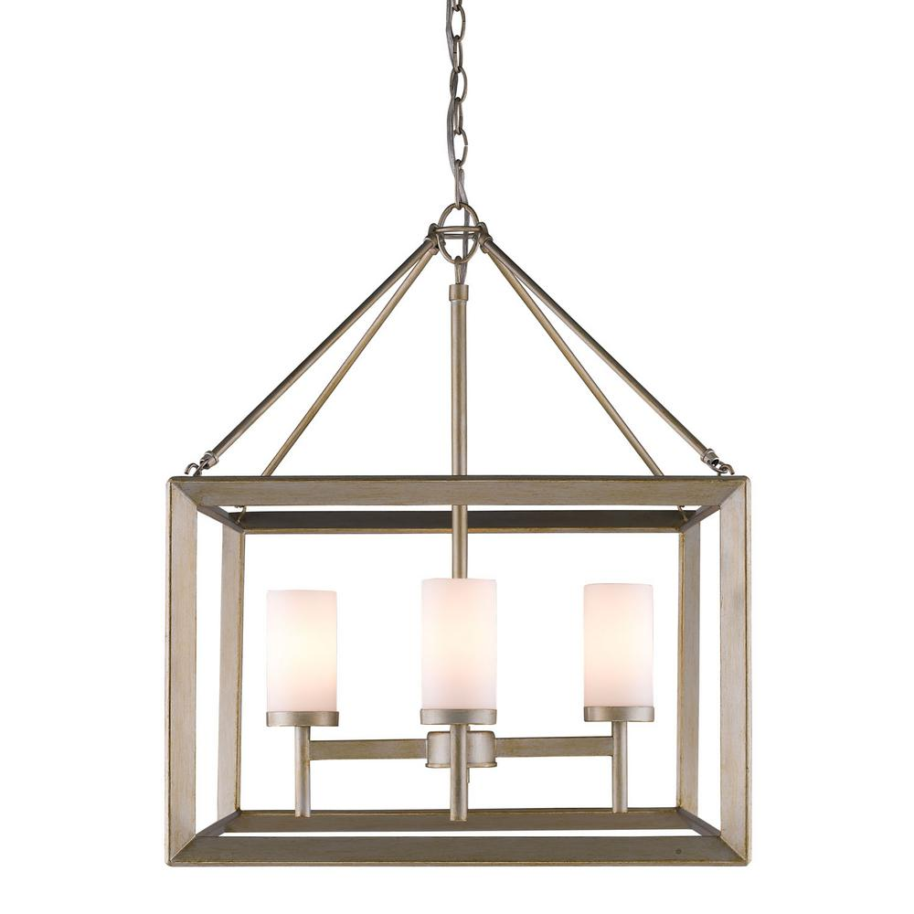 Smyth 4-Light White Gold Chandelier with Opal Glass Shades