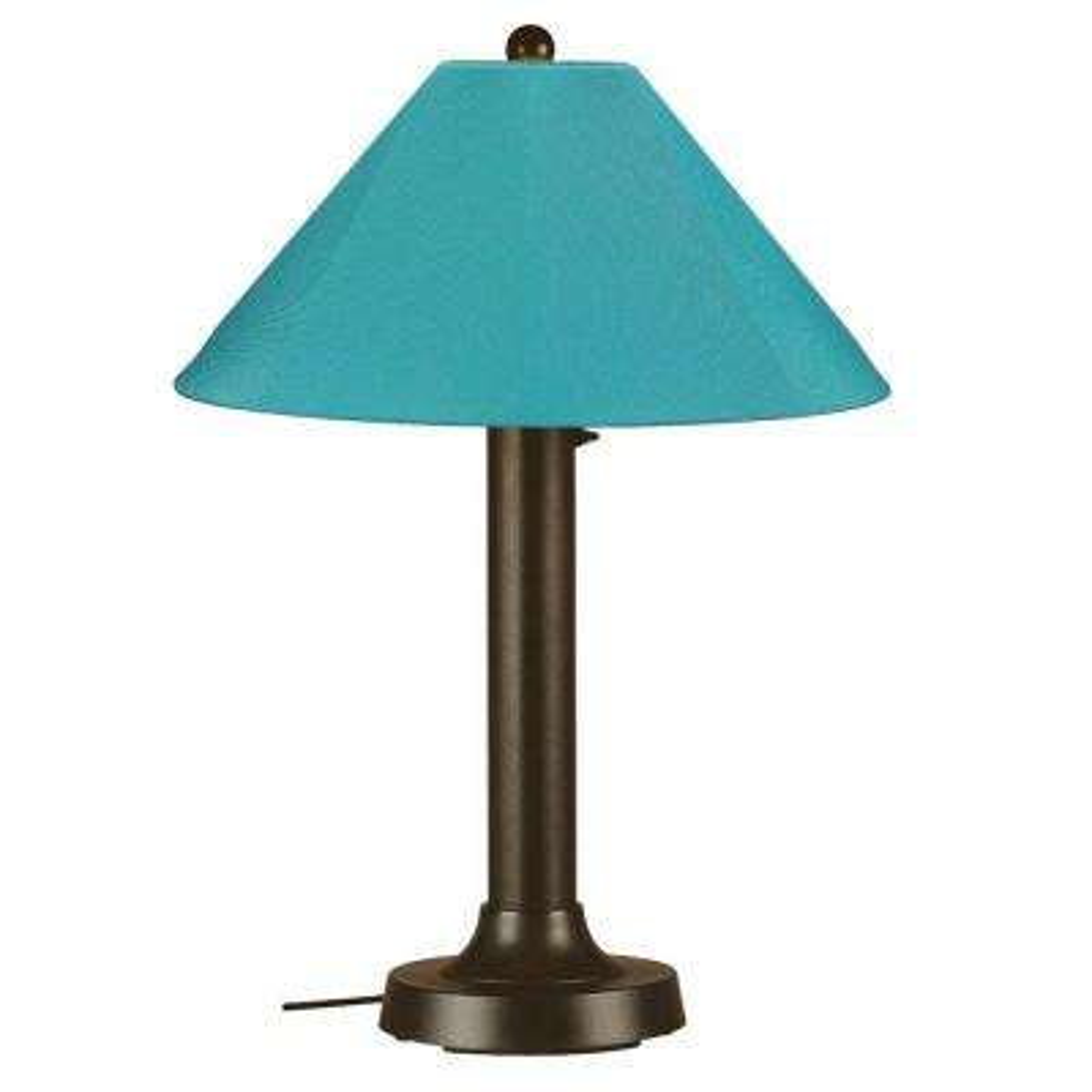 Seaside 34 in. Outdoor Bronze Table Lamp with Aruba Shade