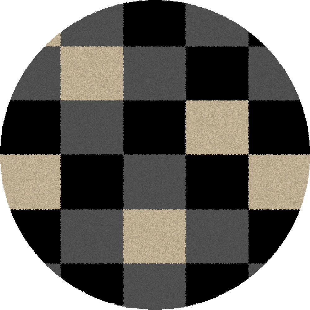 Shaggy Blocks Black 6 ft. 7 in. Round Area Rug
