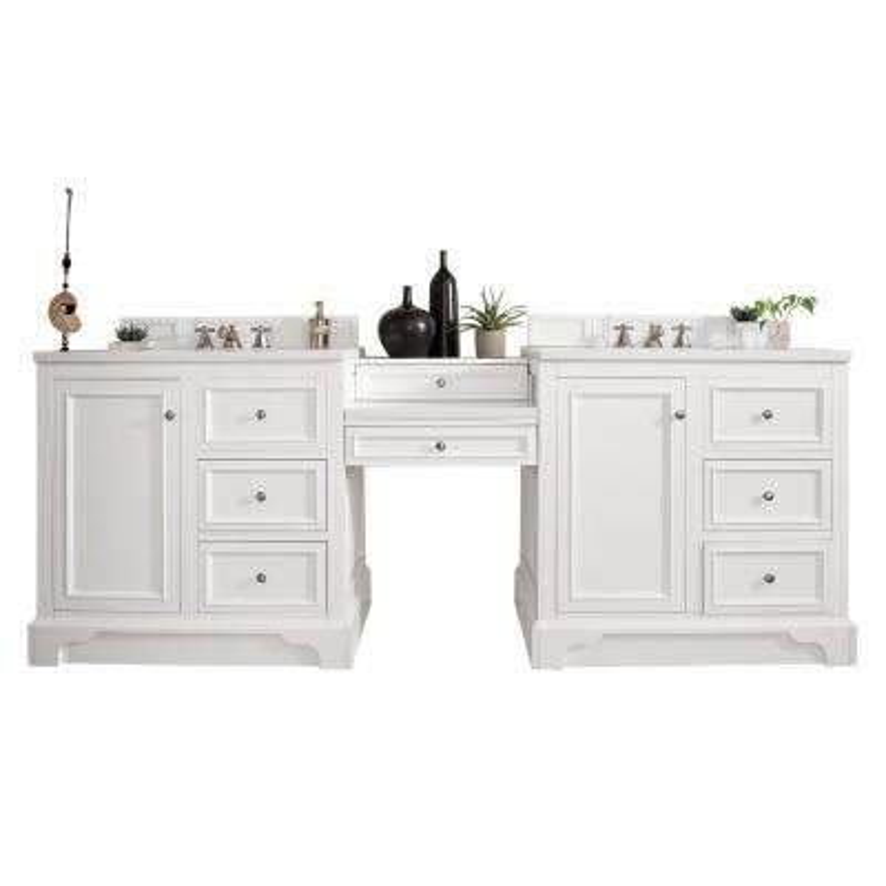 De Soto 94 in. W Double Vanity in Bright White with Marble Vanity Top in Carrara White with White Basin