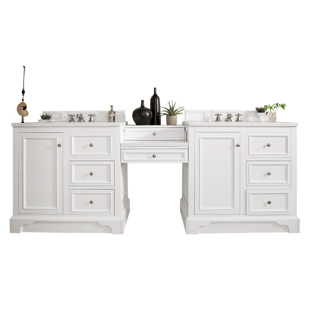 James Martin Vanities De Soto 94 in. W Double Vanity in Bright White with Marble Vanity Top in Carrara White with White Basin