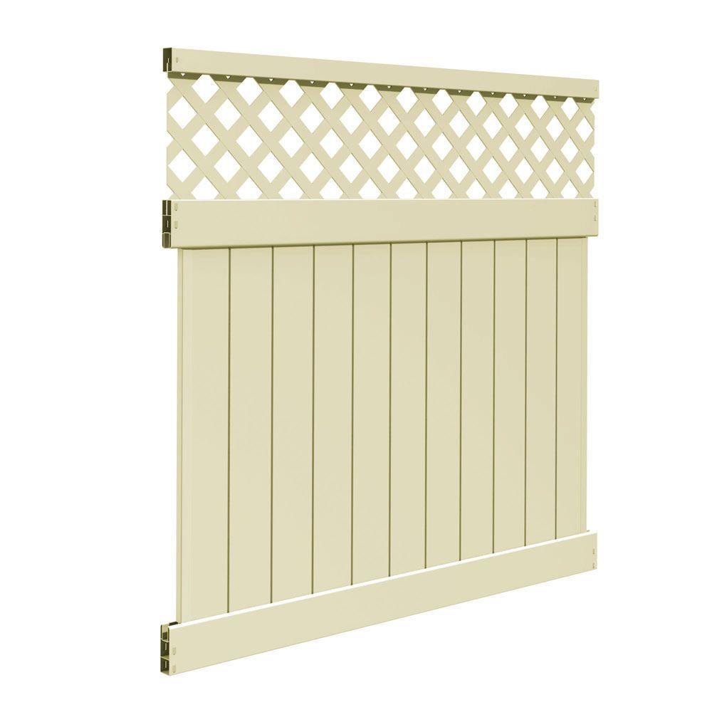 veranda valley 6 ft h x 6 ft w sand vinyl fence panel kit 73014381 the home depot. Black Bedroom Furniture Sets. Home Design Ideas