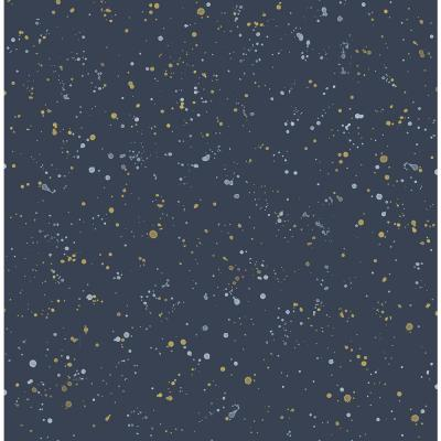 Kids Navy and Metallic Gold Paint Splatter Wallpaper