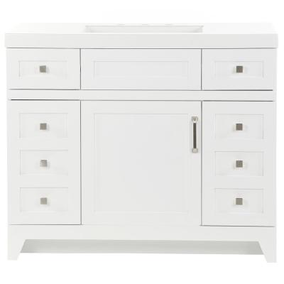 Rosedale 42 in. W x 19 in. D Bathroom Vanity in White with Cultured Marble Vanity Top in White with White Sink