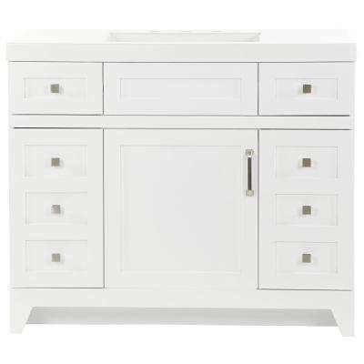 Rosedale 42.50 in. W x 18.75 in. D Bath Vanity in White with Cultured Marble Vanity Top in White with White Basin