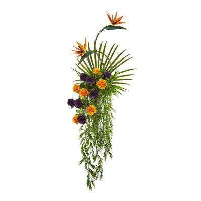 60 in. Rose Bird Of Paradise and Fan Palm Artificial Arrangement in Urn