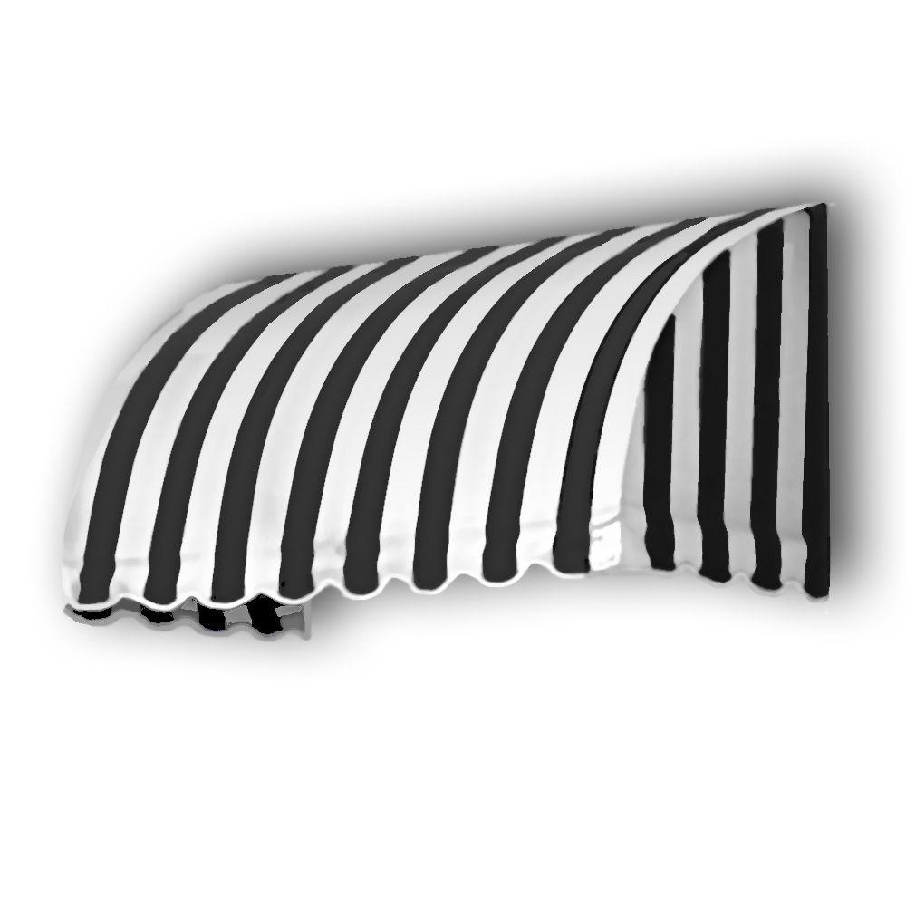 AWNTECH 18 ft. Savannah Window/Entry Awning (44 in. H x 36 in. D) in Black/White Stripe