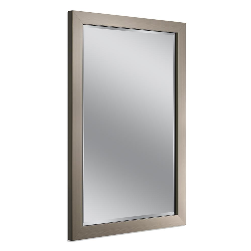 Deco Mirror 40 in. x 28 in. Modern Wall Mirror in Brushed Nickel