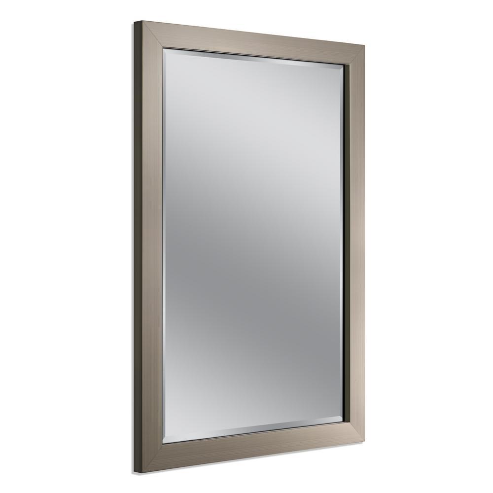 40 in. x 28 in. Modern Wall Mirror in Brushed Nickel