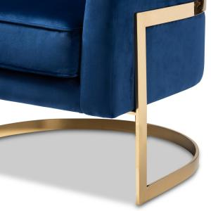 Sensational Baxton Studio Tomasso Dark Royal Blue And Gold Fabric Accent Pdpeps Interior Chair Design Pdpepsorg