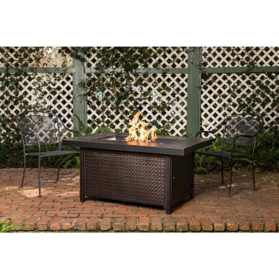 Weyland 48 in. x 24 in. Rectangle Aluminum LPG Fire Pit Table in Antique Bronze