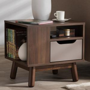 Britta 1-Drawer Brown and Grey Nightstand