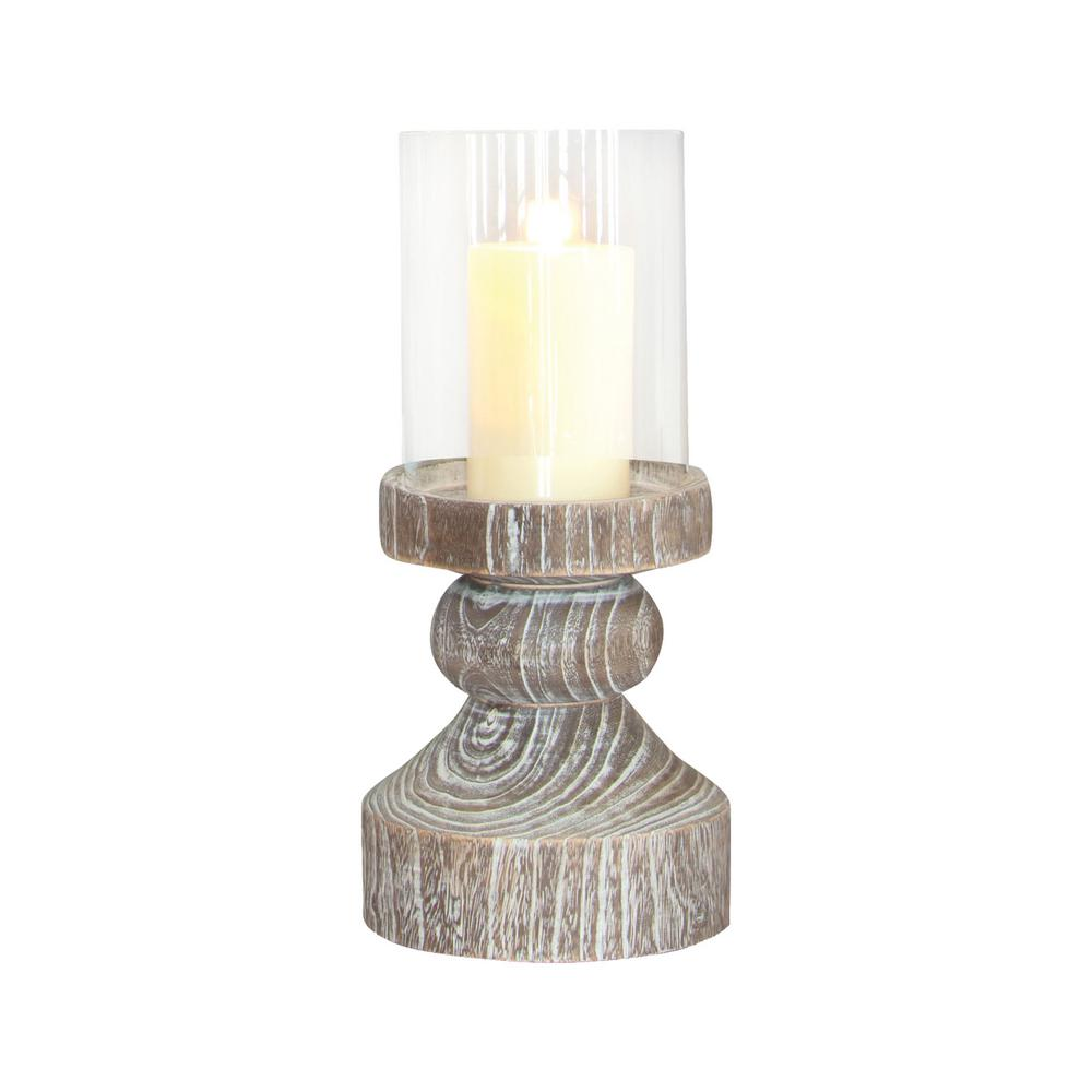 Monticello 19 in. Ashwood and Clear glass Hurricane Candle Holder