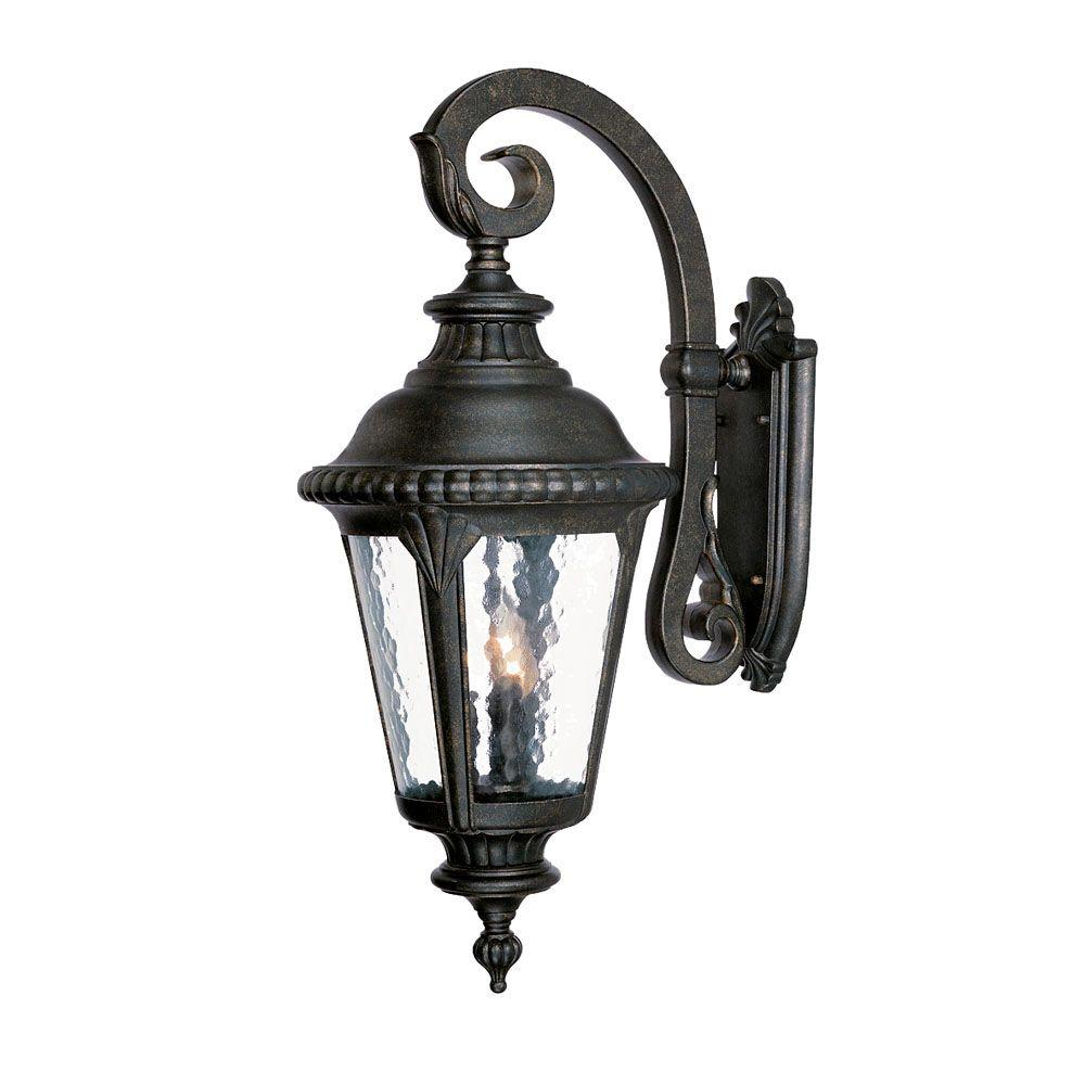 Acclaim Lighting Surrey Collection 3 Light Black Gold Outdoor Wall Mount Fixture