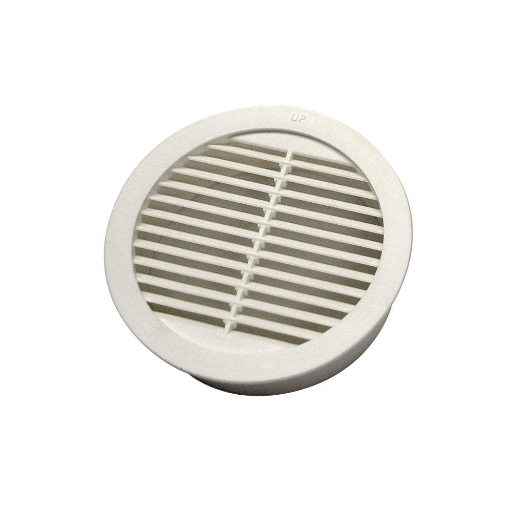 Resin Circular Mini Wall Louver Soffit Vent in White  4. Master Flow 4 in  Resin Circular Mini Wall Louver Soffit Vent in