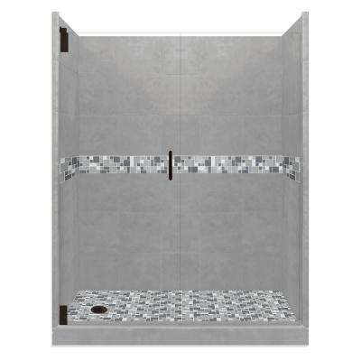 Newport Grand Hinged 30 in. x 60 in. x 80 in. Left Drain Alcove Shower Kit in Wet Cement and Black Pipe Hardware