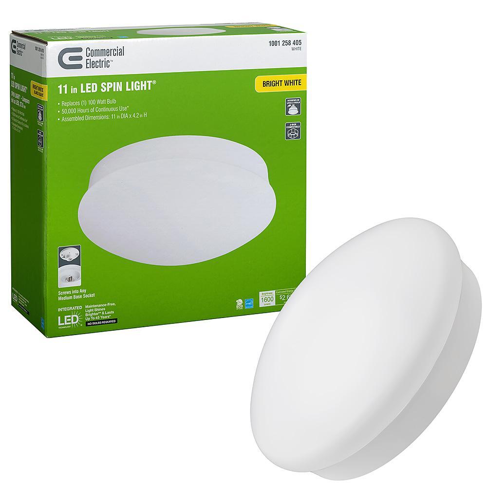 Spin Light 11 in. LED Flush Mount Ceiling Light High Output 1600 Lumens 22-Watt 4000K Bright White No Bulbs