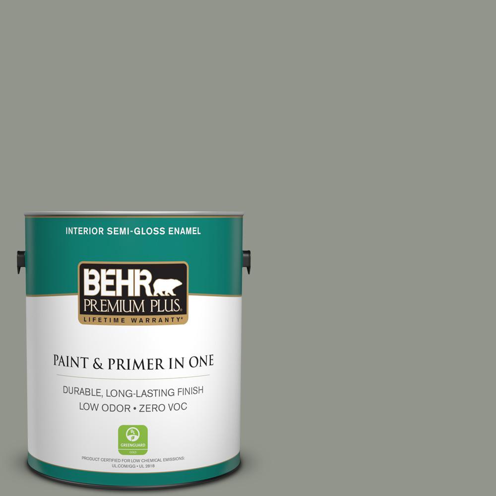1-gal. #ECC-36-1 Shady Willow Zero VOC Semi-Gloss Enamel Interior Paint