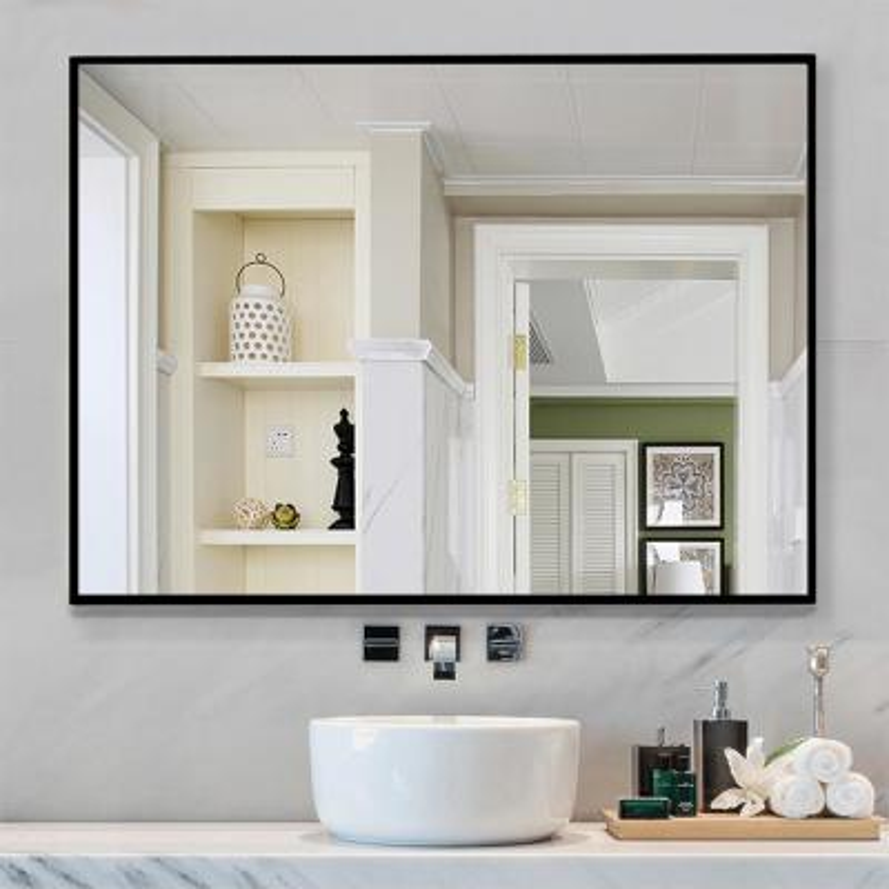 Medium Rectangle Black  Shelves & Drawers Modern Mirror (37.8 in. H x 26 in. W)