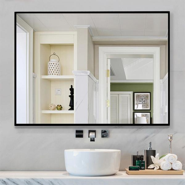 Rectangle Modern/Simple Bathroom Vanity Mirror Wall-mounted/Hanging Mirror Black/Gold