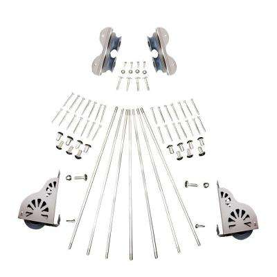 Satin Nickel Braking Rolling Ladder Hardware Kit