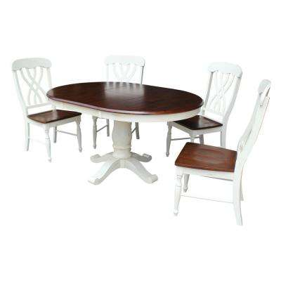 Bal Harbour 5-Piece Oyster and Espresso Oval Dining Set with Latticeback Chairs