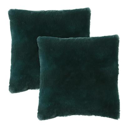 Morgan Home Millburn Faux Fur Green Solid Faux Fur Polyester in. x 18 in. Throw Pillow (Set of 2)