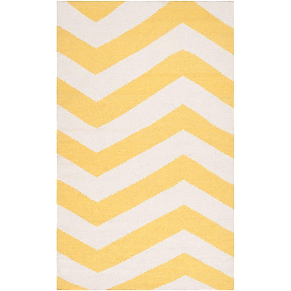 Fijo Sunshine Yellow 2 ft. x 3 ft. Flatweave Accent Rug