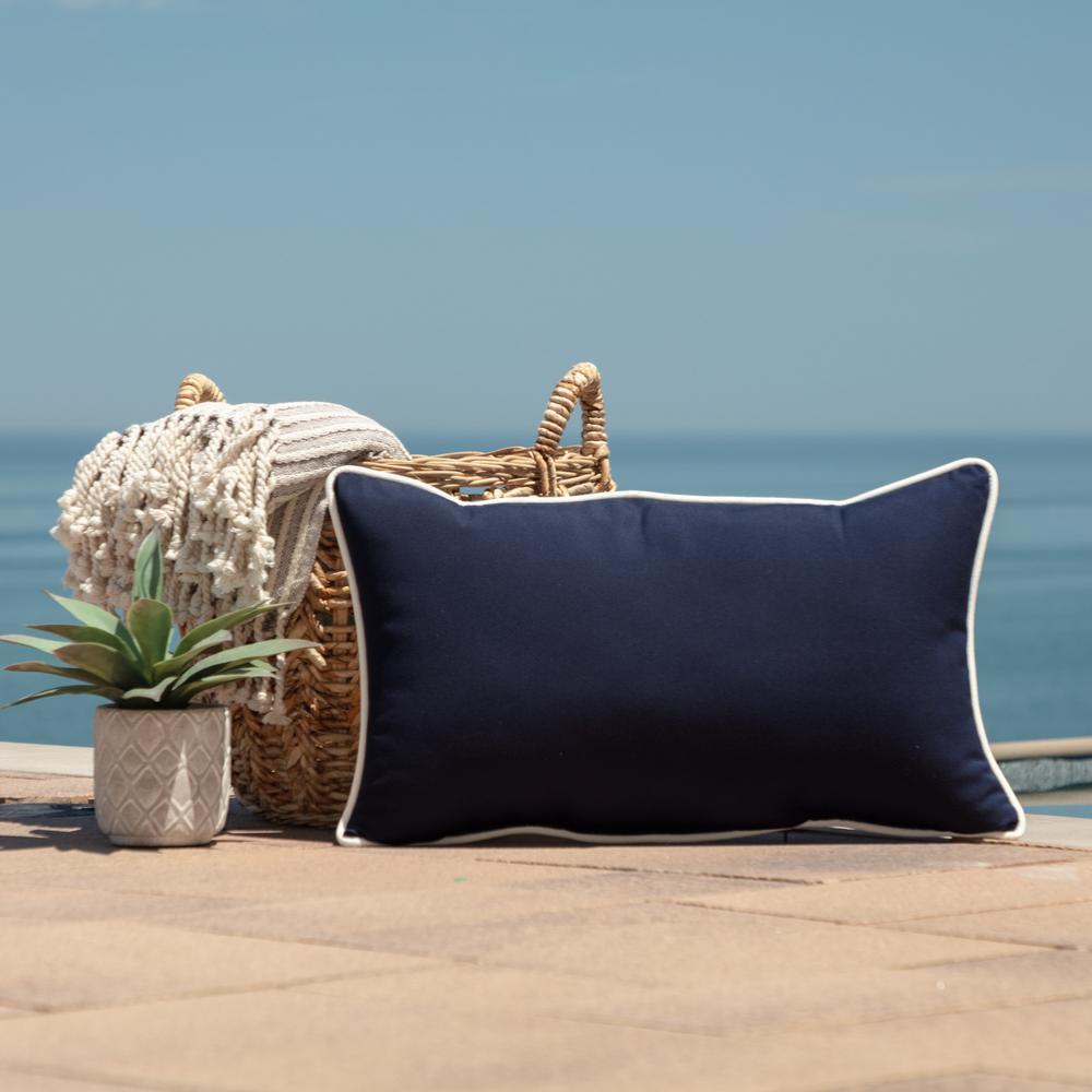 Oasis 24 in. Indoor/Outdoor Lumbar Pillow in Classic Navy Blue