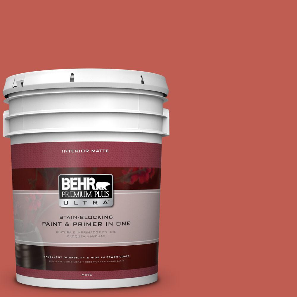 5 gal. #190D-6 Red Jalapeno Matte Interior Paint and Primer in