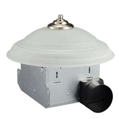Decorative Round 70 CFM Ceiling Bath Fan with Light and Glass Globe