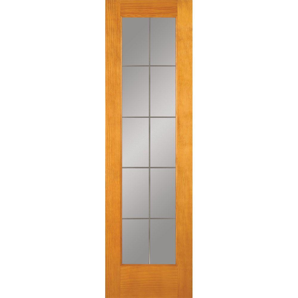 24 in. x 80 in. 10 Lite Illusions Woodgrain Unfinished Pine Interior Door Slab