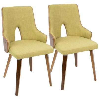 Stella Walnut And Green Accent Chair (Set Of 2)