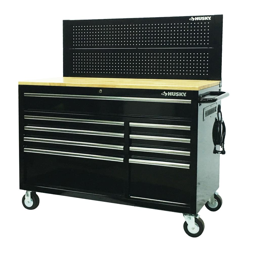 Husky 52 In W 9 Drawer Deep Tool Chest Mobile Workbench In Gloss Black With Pegboard Hotc5209b12m D6tc09002 The Home Depot
