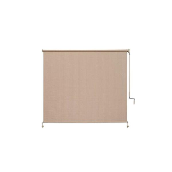 Camel Cordless Light Filtering Fade Resistant Fabric Exterior Roller Shade 72 in. W x 72 in. L
