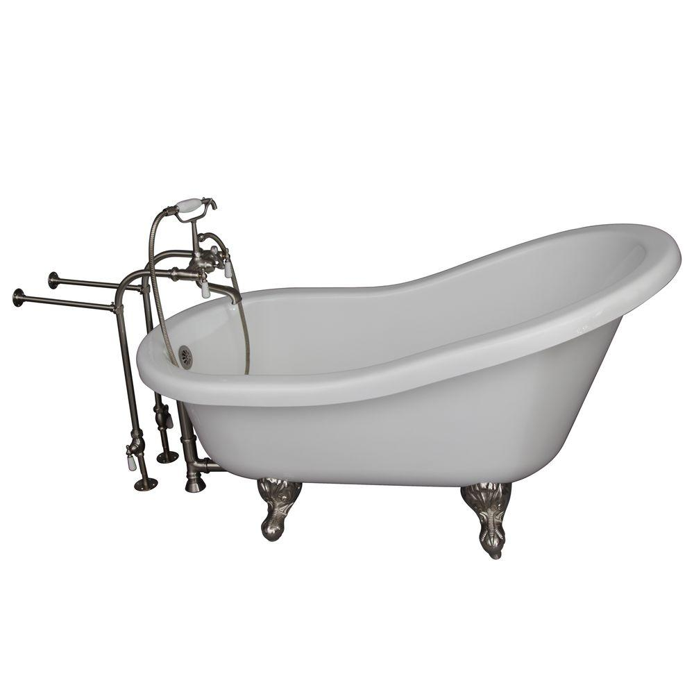 Acrylic Ball And Claw Feet Slipper Tub In White With Brushed