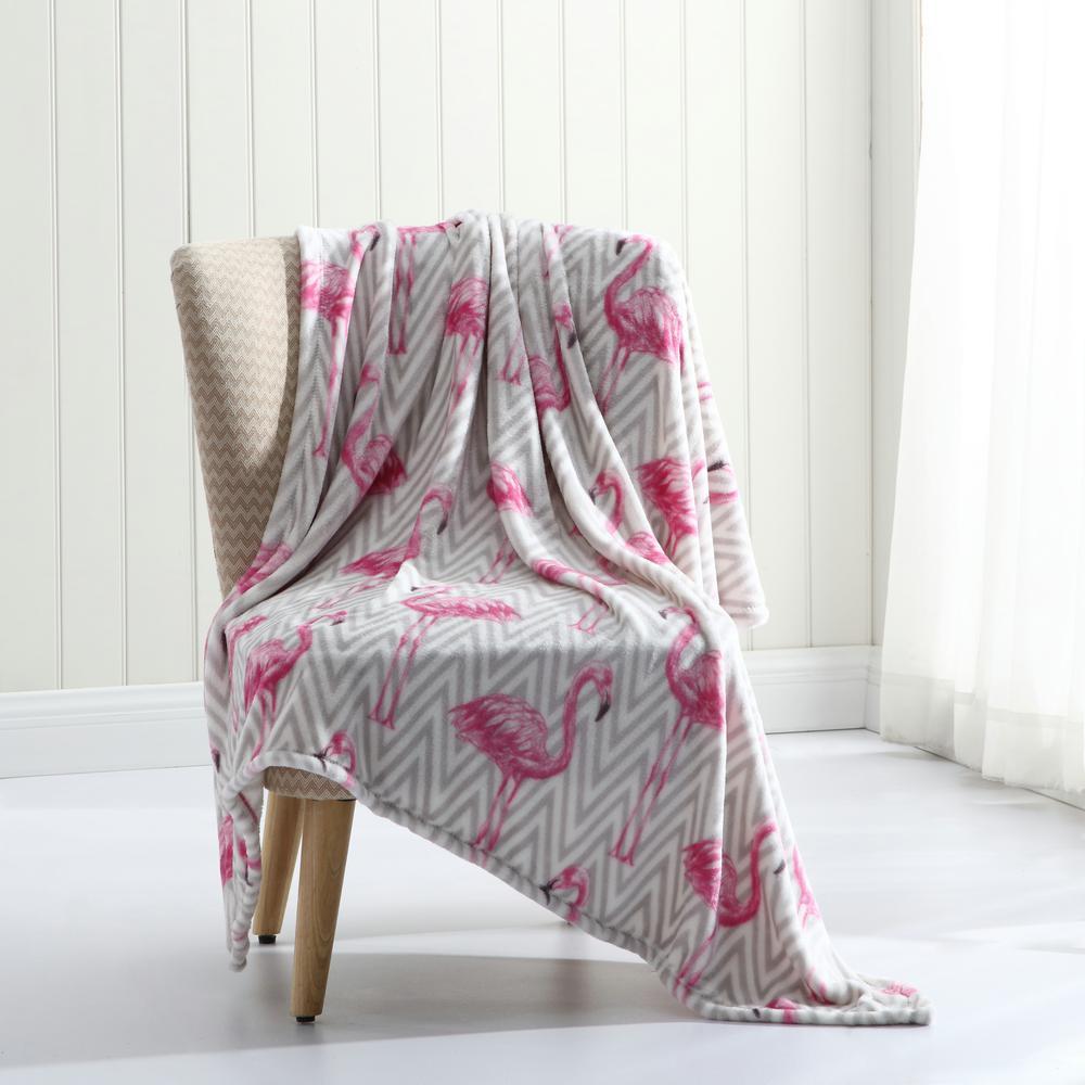 Tropical Plush Pink Throw Blanket