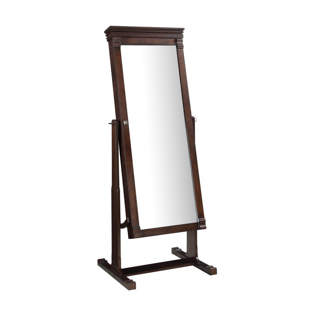 Angela 63 in. x 23.75 in. Cheval Walnut Framed Mirror