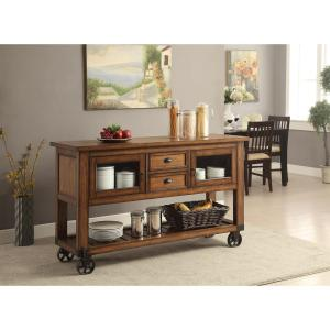 Click here to buy Acme Furniture Kadri Distressed Chestnut Kitchen Cart With Storage by Acme Furniture.