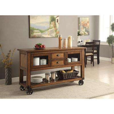 Kadri Distressed Chestnut Kitchen Cart With Storage