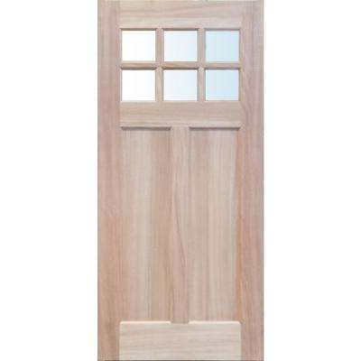 36 in. x 79 in. 6-Lite Clear Glass Unfinished Mahogany Front Door Slab