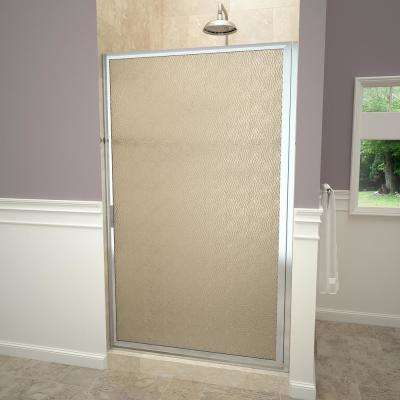 1100 Series 33-3/4 in. W x 70-1/2 in. H Framed Swing Shower Door in Polished Chrome with Pull Handle and Obscure Glass