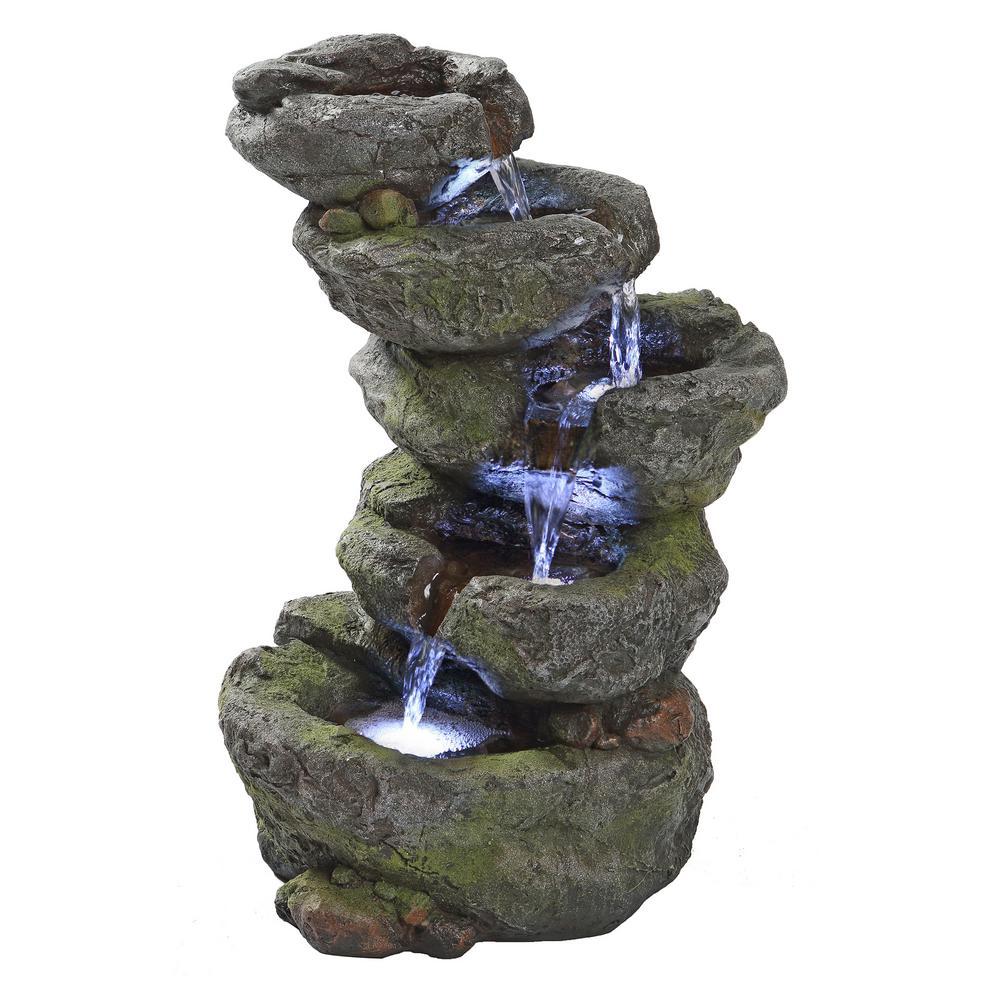 Breakneck Falls Stone Bonded Resin Illuminated Garden Fountain